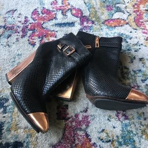 Rose gold black leather booties